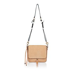 Light pink tassel front saddle handbag
