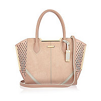 Pink laser cut winged tote handbag