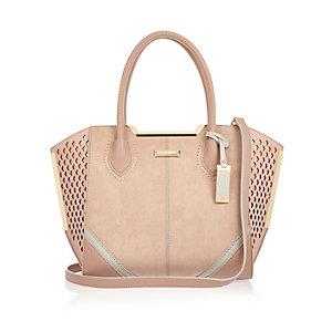 Pink laser cut winged tote handbag