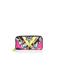 Pink printed zip around purse