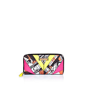 Pink printed zip around purse