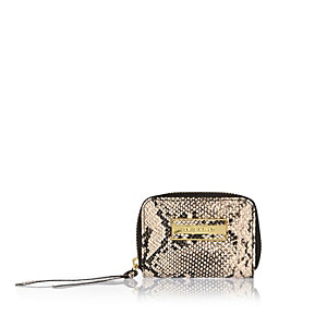 Beige snake print zip purse