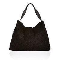 Black suede large handbag