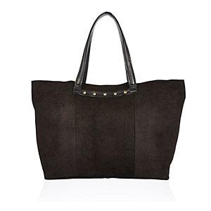 Black leather studded tote handbag