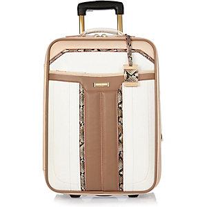White panelled wheelie suitcase