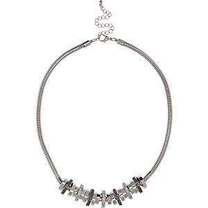 Silver tone choker chain necklace