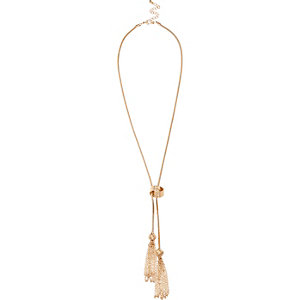 Gold tone knotted lariat necklace