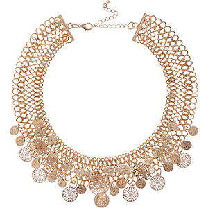 Gold tone coin embellished necklace