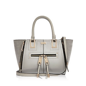 Grey mini zip winged tote handbag