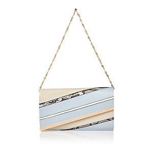 Light blue stripe panel handbag