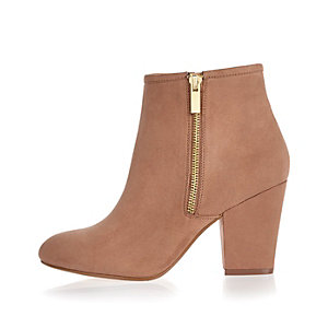 Pink faux suede heeled ankle boots