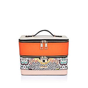 Orange print vanity case
