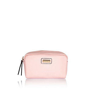 Pink textured make up bag