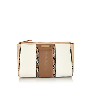 White panelled wash bag