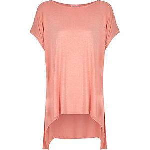 Pink marl hanky hem short sleeve t-shirt