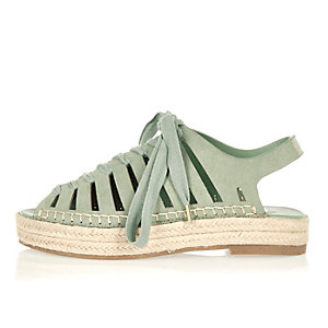 Green espadrille sandals