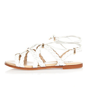 White plaited lace-up sandals