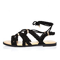 Black leather plaited lace-up sandals