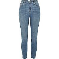 Mid wash high rise Lori skinny jeans