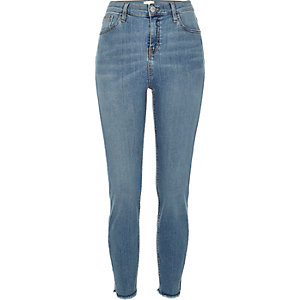 Mid wash high waisted Lori skinny jeans
