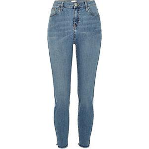 Jean skinny Lori délavage moyen taille haute