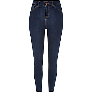 Dark blue wash high rise Lori skinny jeans