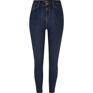 Jean skinny Lori délavage bleu foncé taille haute