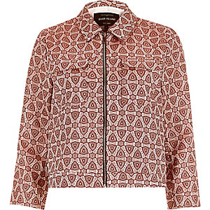 Pink jacquard boxy jacket