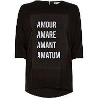 Black amour print longline t-shirt