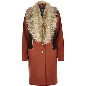 Rust brown wool-blend coat