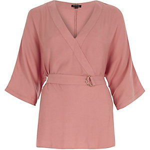 Pink D-ring kimono top