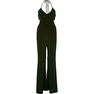 Metallic green halter neck jumpsuit