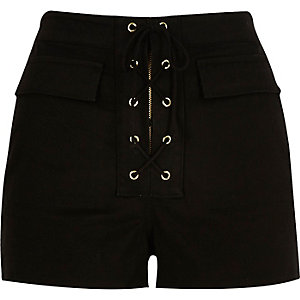 Black lace-up high waisted shorts