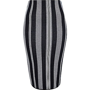 Navy stripe shorter pencil skirt
