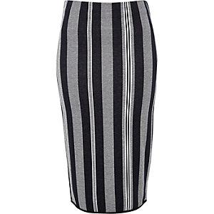 Navy stripe longer pencil skirt