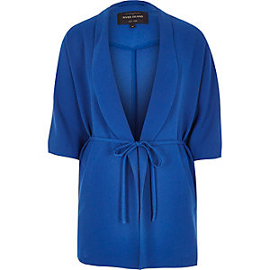 Blue belted kimono jacket
