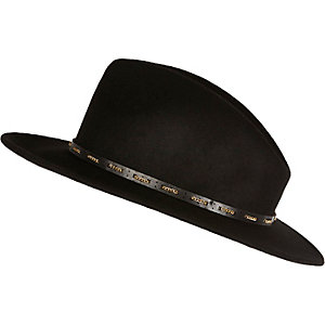 Black chain trim fedora hat