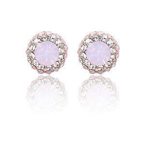 Pink opal gem stud earrings