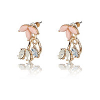 Gold tone petal front and back earrings