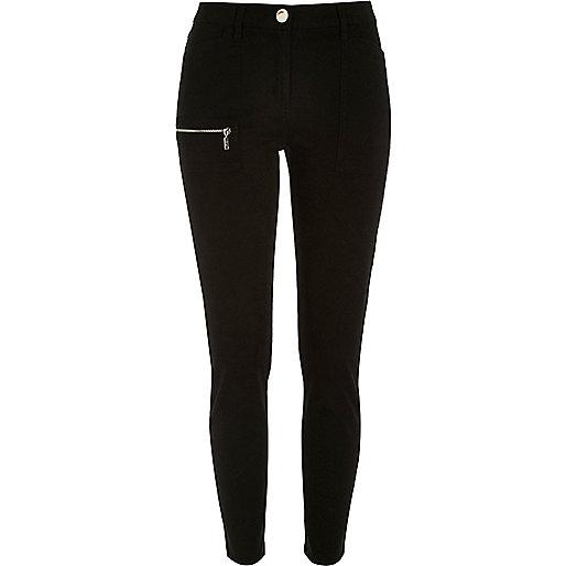 Black twill zip skinny trousers