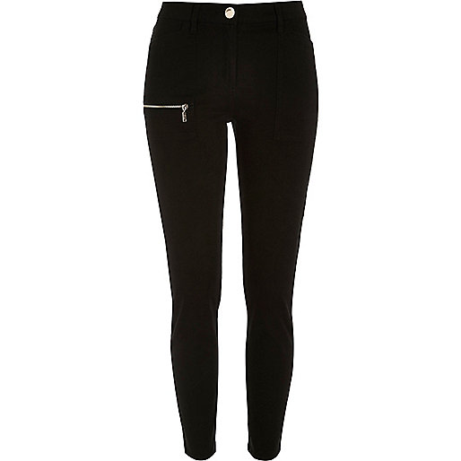 Black twill zip skinny pants