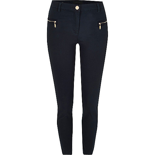 Navy twill zip skinny trousers