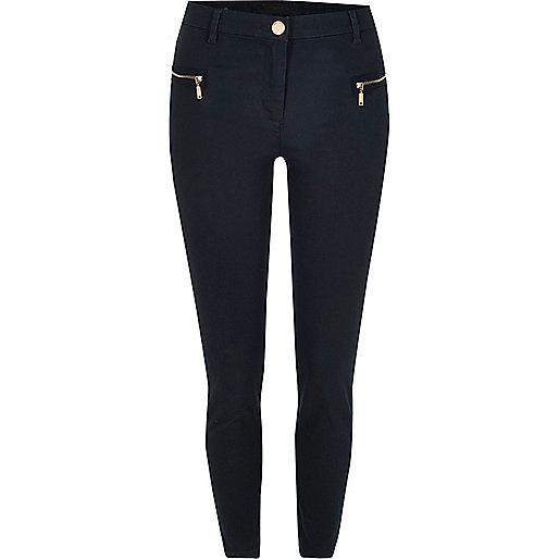 Navy twill zip skinny pants