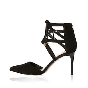 Black tie-up pointed court heels