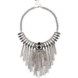 Silver tone tassel statement necklace