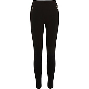 Black premium zip leggings