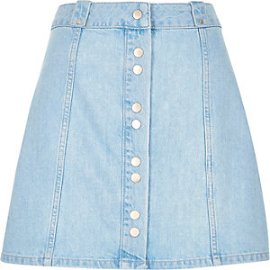 Light denim button-up A-line skirt