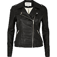Black leather-look whipstitch biker jacket