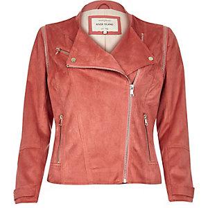 Coral faux suede biker jacket