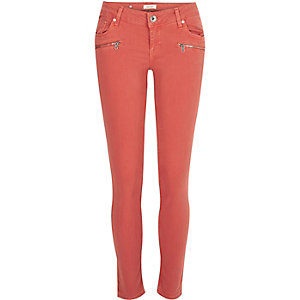 Red Cara zip pocket skinny jeans